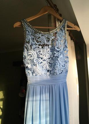 Небесное вечернее платье на выпускной, свадьбу, торжественный вечер
