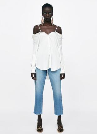 Рубашка со спущенными плечиками zara new collection
