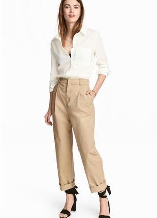 Хлопковые чиносы широкие брюки сафари штаны с отворотами завышенная посадка кемел