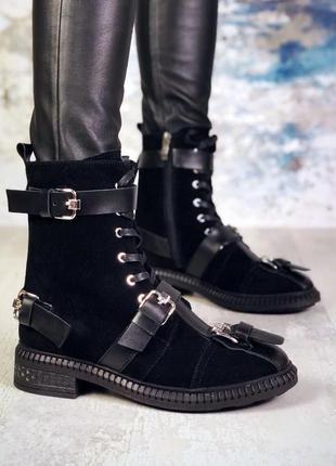 Рр 36-40 натуральный замш+кожа стильные черные ботинки с ремнями