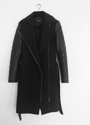 Демисезонное пальто косуха с кожаными рукавами итальянского бренда rinascomento2 фото