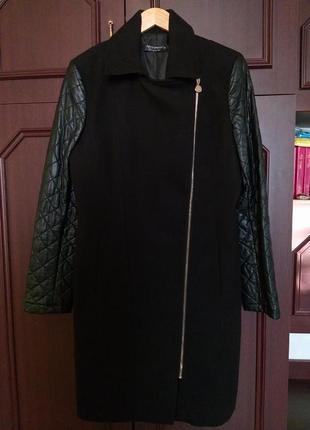 Демисезонное пальто косуха с кожаными рукавами итальянского бренда rinascomento3 фото
