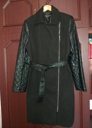Демисезонное пальто косуха с кожаными рукавами итальянского бренда rinascomento4 фото