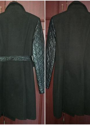 Демисезонное пальто косуха с кожаными рукавами итальянского бренда rinascomento5 фото