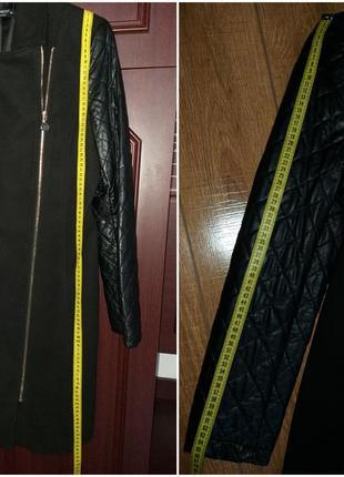 Демисезонное пальто косуха с кожаными рукавами итальянского бренда rinascomento6 фото