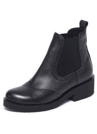 Кожаные женские ботинки на резинке