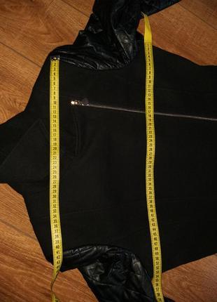 Демисезонное пальто косуха с кожаными рукавами итальянского бренда rinascomento8 фото