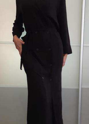 Двубортное черное платье миди макси pure oxygen англия