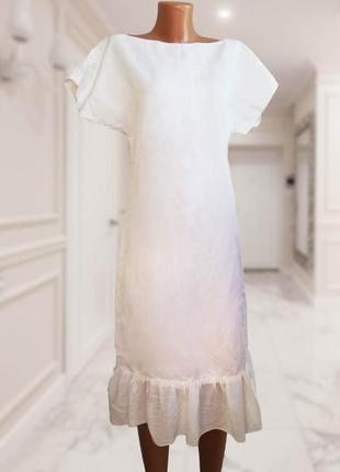 Белое льняное платье / льон / воланы