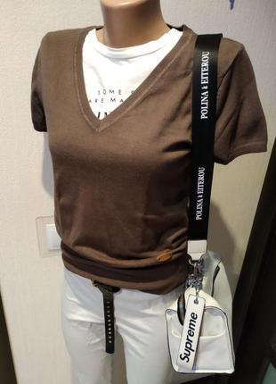 Стильный брэндовый крутой пуловер джемпер свитер кофта коричневый