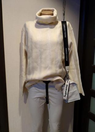 Шикарный стильный брэндовый свитер водолазка джемпер из натуральной шерсти
