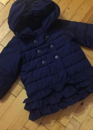 Шикарная темно-синяя детская курточка с капюшоном на девочку 2 года