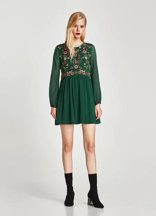 Zara! очень красивое платье с вышивкой. свежая коллекция