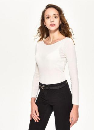 Новая базовая облегающая однотонная белая кофта лонгслив блузка sinsay хлопок l xl
