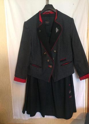 Оригинальный костюм,пиджак и юбка,шерсть от бренда c&a,alphorn