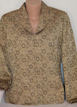Брендовый золотистый пиджак жакет блейзер eastex вискоза переливается этикетка