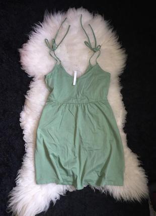 Платье сарафан asos оригинал хлопок мятное ментол завязки на плечах бретельки расклешенное