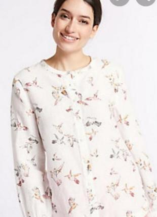 Рубашка лен коттон принт  птички per una