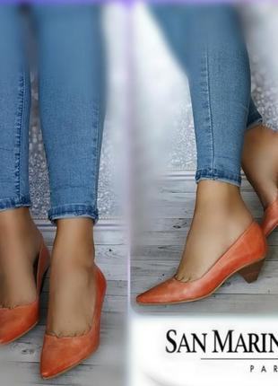 36-37р кожа! новые san marina франция,туфли,лодочки острый носок