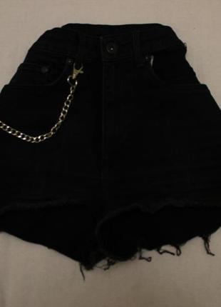 Черные джинсовые шорты на высокой талии h&m