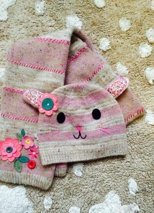 Accessorize набор для маленькой принцессы .  шапка и шарфик.