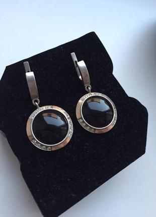 Жіночі срібні кульчики з позолотою/ женские серёжки, серьги серебряные с позолотой