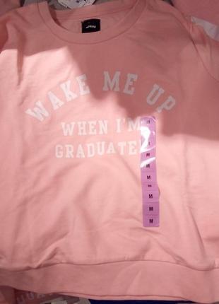 Новая широкая розовая кофта светло-розовый свитшот sinsay будите после выпуска xs s m l xl6 фото