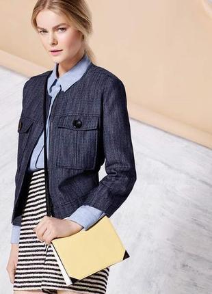 Брендовая джинсовая куртка пиджак жакет на молнии с карманами autograph индия этикетка