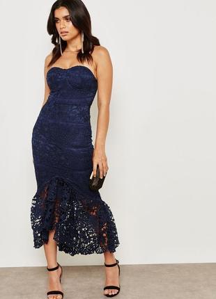 Синее кружевное платье missguided