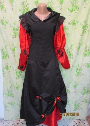 Длинная пышная юбка на хэллоуин/принт пауки паутина halloween + блузка/комплектом