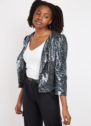 Пиджак блейзер в пайетках винтаж анималистический принт размера m