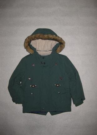 3-4 года, яркая зеленая зимняя куртка парка m&s мальчику