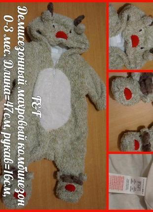 F&f демисезонный комбинезон 0-3 мес демісезонний комбінезон новорічний новогоний олень