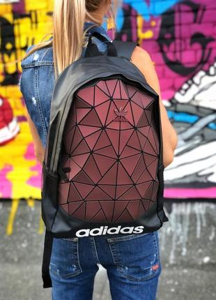 Женский стильный рюкзак adidas black bordo 16л. адидас