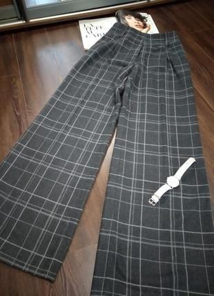 Крутые широкие прямые брюки макси с завышенной линией талии серые