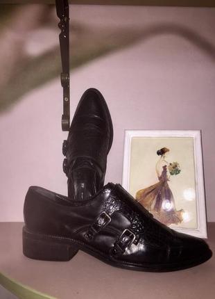 Чёрные закрытые туфли монет от h&m из натуральной кожи #15