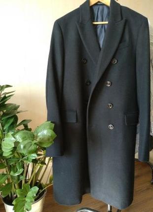 Шерстяное двубортное пальто mango