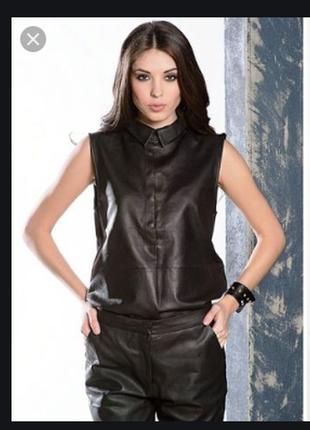 Брендовая черная кожаная жилетка на молнии с карманами skin tones genuine leather индия