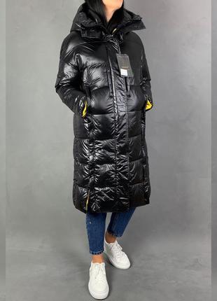 Пальто пуховое куртка лаковая  пуховик одеяло на магнитах в стиле бойфренд/оверсайз.