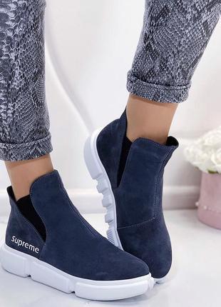 Новые женские серые осенние замшевые ботинки