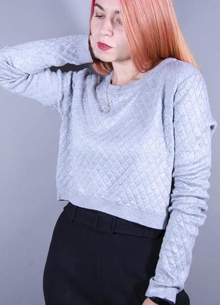 Женский свитшот, короткий серый свитшот, теплый джмепер с фактурой