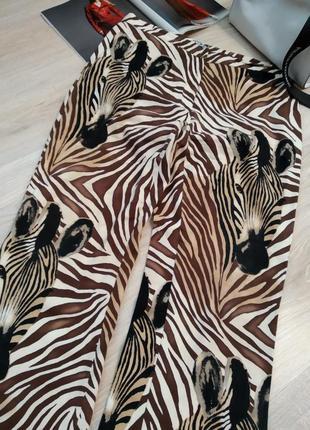 Стильные брюки джинсы стрейч с принтом зебра большого размера energy