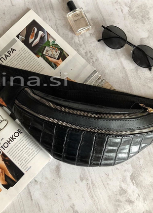 6 цветов! сумка на пояс черный крокодил бананка люкс качество