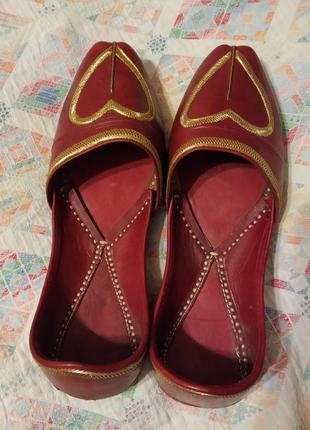 Домашние кожаные турецкие туфли кожа 28 см стелька