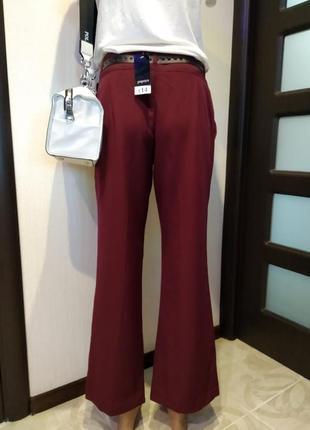 Стильные укороченные брюки штаны бриджи бордовые клеш papaya