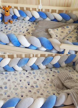 Бортик коса косичка защита бампер в детскую кроватку пледик одеялко  простынь