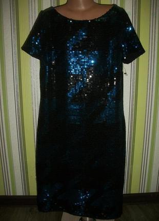 Новое шикарное нарядное платье в пайетках евро размер 6 next некст