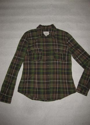 170 рост, очень классная хлопковая рубашка в клетку от h&m