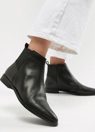 Кожаные челси с острым носком asos,размер 37,38,5
