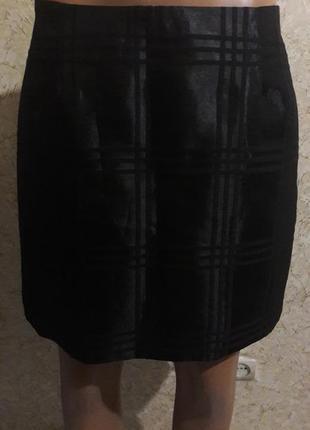 Симпатичная черная мини-юбка на подкладке